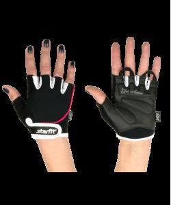 Перчатки для фитнеса STARFIT SU-111, черные/белые/розовые