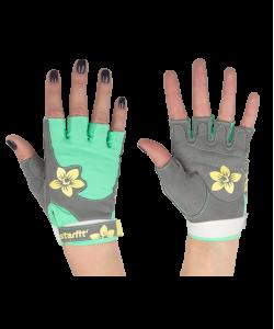 Перчатки для фитнеса STARFIT SU-112, серые/мятные/желтые
