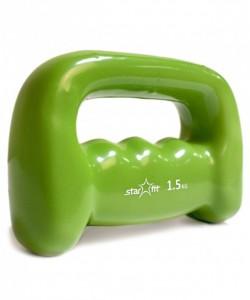 Гантель виниловая STARFIT DB-103 1,5 кг, зеленая
