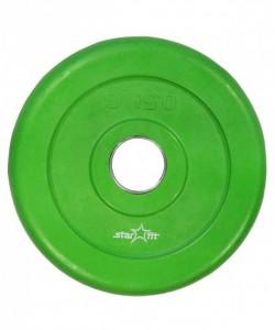Диск обрезиненный STARFIT BB-201, d=26 мм, зеленый, 0,5 кг