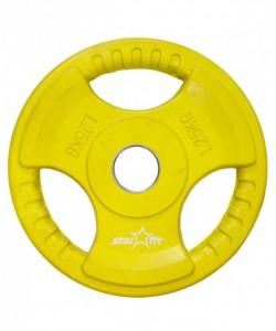 Диск обрезиненныйSTARFIT  BB-201, d=26 мм, желтый, 1,25 кг