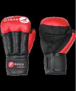 Перчатки для смешанных единоборств RUSCO, к/з, красные