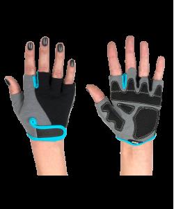 Перчатки для фитнеса STARFIT SU-117, черные/серые/голубые