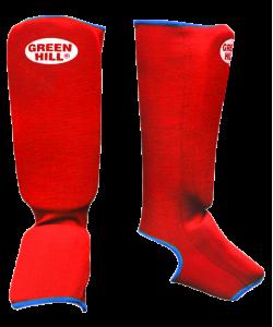 Защита голень-стопа GREEN HILL SIC-6131, х/б, красная