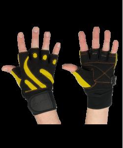Перчатки атлетические STARFIT SU-121, черные/желтые