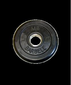 Диск обрезиненный, d=51 мм, черный, 5 кг