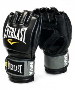 Перчатки для смешанных единоборств EVERLAST Pro Style Grappling 7778BLXLU, к/з, черные/серые/желтые