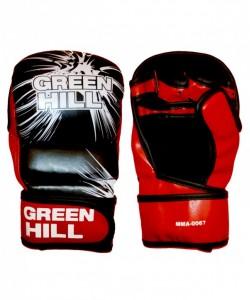 Перчатки для смешанных единоборств GREEN HILL MMA-0067, к/з, черные/красные