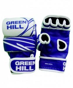 Перчатки для смешанных единоборств GREEN HEILL MMA-0055L, кожа, синие/белые