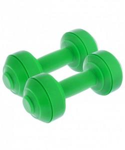 Гантели пластиковые европодвес 1 кг, зеленая, пара
