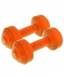 Гантели пластиковые европодвес 1,5 кг, пара, оранжевая