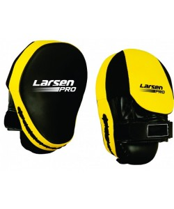 Лапа бокс.(пара) Larsen Pro JE-2190 иск.кожа черный/желтый N/S(934)