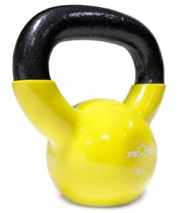 Гиря виниловая STARFIT DB-401, желтая, 4 кг