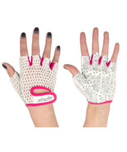 Перчатки для фитнеса STARFIT SU-110, белые/розовые